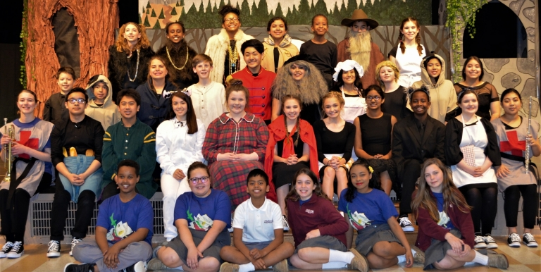 Cast and crew of 2019 production of Into the Woods Junior