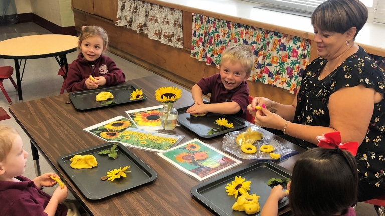 PreK3 students learn about sunflowers