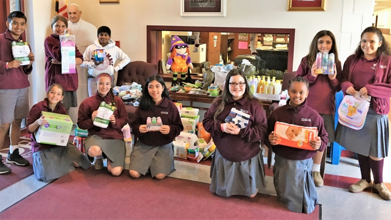 Student Government collects items for the St. Ann's baby drive, October 2018