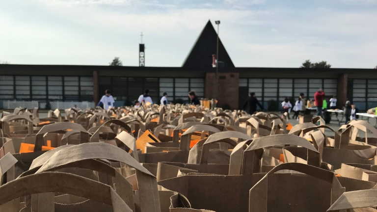 Hundreds of bags in the St. Jude parking lot collected by the school and church community for the Greg Gannon food drive during the fall of 2017